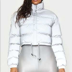 Reflective Material Cropped Puffer Jacket